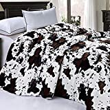 Home Soft Things Soft and Thick Faux Fur Sherpa Backing Bed Blanket, Cows Flower, 86' x 92'