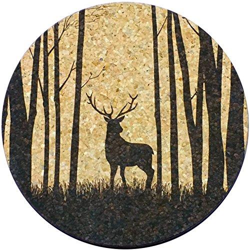 XL posavasos–, diseño de ciervo Buck (6pulgadas, set de 2) gran tamaño corcho posavasos, diseño de absorbente que realmente trabajo EE. UU.