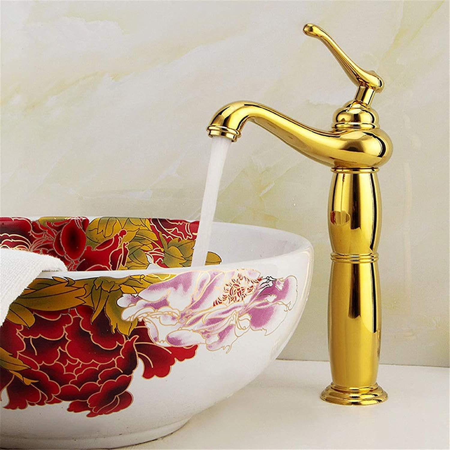 gold and above counter basin hot and cold faucet copper antique single handle single hole European lavatory faucet