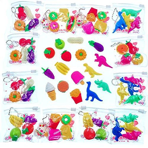 JZK 64 x Mini Gomas borrar Vegetal Pastel Fruta Dinosaurio Novedad Borrador lápiz Juguete Goma para niños cumpleaños favorece obsequios Relleno Bolsas Fiesta Gracias Regalo para niña niño