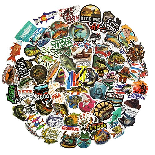 Go Fishing Stickers Many Kinds of Fly Fish Stickers 60Pcs Variety Vinyl Car Sticker Water Bottle Skateboard Motorcycle Phone Bicycle Luggage Guitar Bike Sticker Decal (go Fishing)
