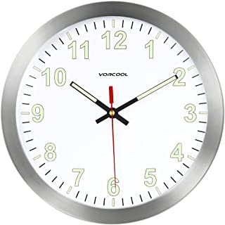 VORCOOL Relojes de Pared Luminoso Silencioso Cuarzo Redondo Hogar Cocina Decoraciones 12 Pulgadas (Plata)