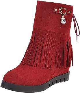 ELEEMEE Women Fashion Wedge Heel Fringe Boots