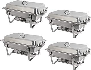 8 چارتر فولاد ضد زنگ کوارت 8 سایز کامل Chafer Chafing Dish W / Water pan ، قابلمه ، مواد نگهدارنده سوخت و درب برای تهیه غذای گرمتر مجموعه (مستطیل)