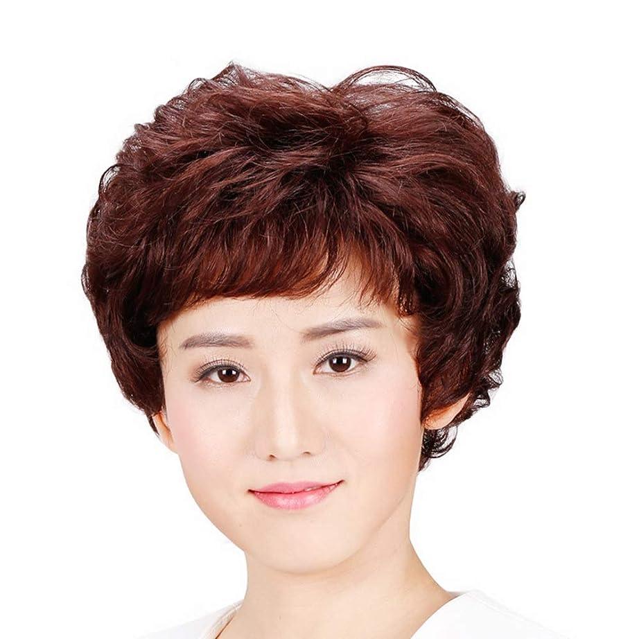 送る望み連鎖BOBIDYEE 女性のための自然な人間の髪の毛の短いストレートヘア中年のかつら母のギフトパーティーのかつら (色 : Natural black, サイズ : Mechanism)