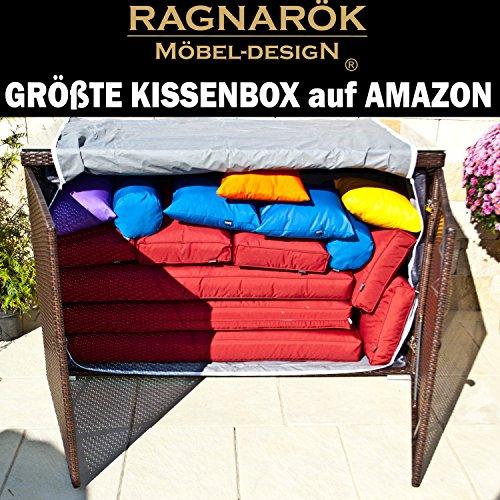 Ragnarök-Möbeldesign XXXL polyrotan kussenbox grootte kussenbox op Amazon - Duits merk - eigen productie - 8 jaar garantie met glasplaat bruin tuinmeubelen aluminium rotan statafel