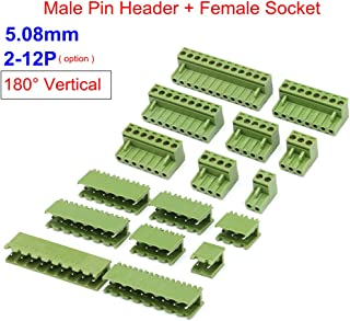 5Pcs 5.08mm Pitch KF2EDGK 8Pin Vertical Plug-in PCB Terminal Block Plug, Female Sockets Connector 300V 15A