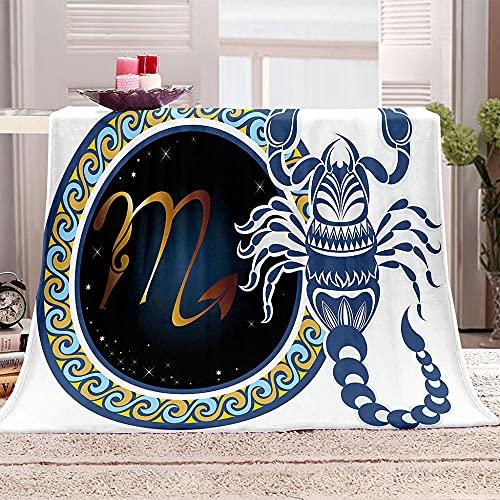 Escorpión Manta de Tiro Impresa constelación 3D Manta para niños Adultos Mantas de Lana con Franela Ligera Manta para sofá de Cama y Viaje 130x150cm