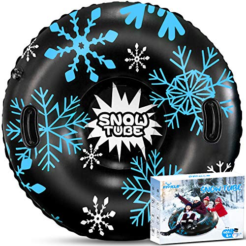 Fivkle Snow Tube, 47inch Inflatable Freeze-Proof & Wear-Resistant Snow Sled, Heavy Duty 0.6mm Thickening Material Snow Tube with 2 High Handles for Adults and Kids in Winter