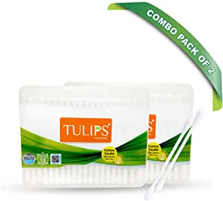 Tulips Cotton Ear Buds/Swabs (Pack of 2) 100% Pure & Soft Cotton, 200 Sticks/ 400 Tips in a each Flat Box