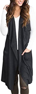 Women's Lightweight Sleeveless Open Front Cardigan Sweater Vest with Pockets