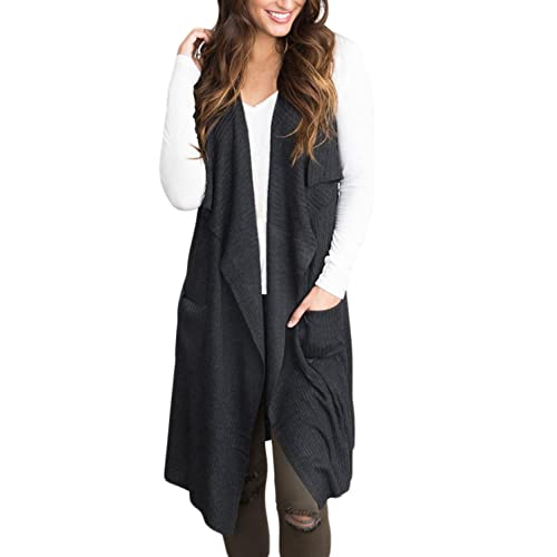 76ccee14927 BLENCOT Women s Lightweight Sleeveless Open Front Cardigan Sweater Vest  with Pockets
