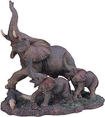 "StealStreet SS-G-54138 Polyresin Gray Big Elephant & Two Baby Elephants Figurine, 10"""