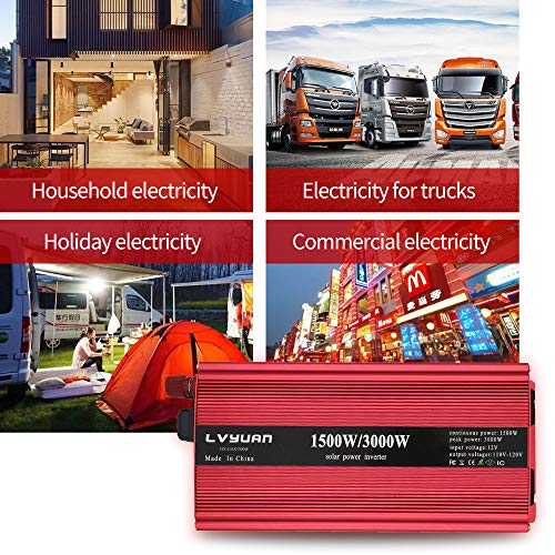 LVYUAN 1500W/3000W Power Inverter Dual AC Outlets and Dual USB Charging Ports DC 12V to 110V AC Car 12V Inverter Converter with Digital Display 4 External 40A Fuses for Blenders, vacuums, Power Tools