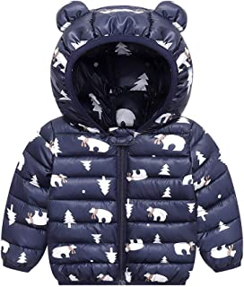 JunNeng Baby Girl Boy Ultralight Winter Hooded Jacket Coat,Kids Toddler Cartoon Puffer Down Outwear