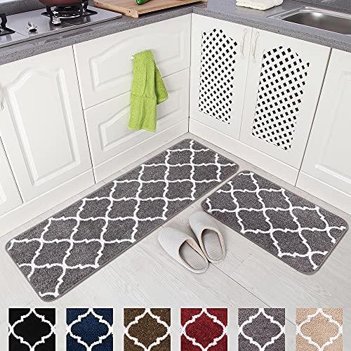 "Carvapet 2 Pieces Kitchen Rugs and Mats Set Absorbent Soft Microfiber Bath Mat Moroccan Trellis Non-Slip Kitchen Mat Doormat Runner Set, 17""x48""+17""x24"", Grey"