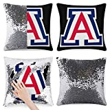 964 Arizona Wildcats University Sequin Throw Pillow Covers Cushion Cases Square Glitter Pillowcases 15.7 X 15.7 Inches