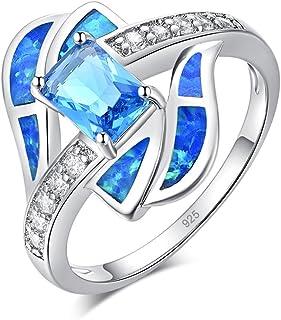 CiNily روديوم مطلي الأزرق النار العقيق الزبرجد للنساء مجوهرات الأحجار الكريمة خاتم الحجم 5-12