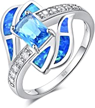 CiNily Rhodium Plated Blue Fire Opal Aquamarine for Women Jewelry Gemstone Ring Size 5-12