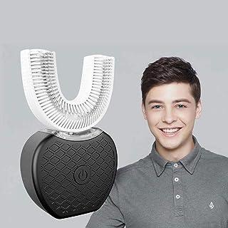 Cepillo de dientes eléctrico tipo U de frecuencia variable y totalmente automático, dientes ultrasónicos de luz fría tipo U de 360 ° para blanquear el cepillo de dientes Limpiador de boca (negro)