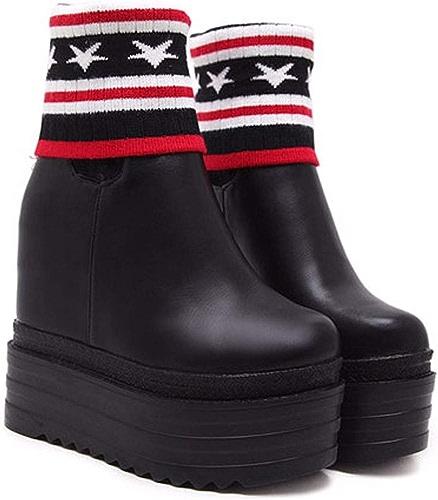 HBDLH Chaussures pour Femmes L'Intérieur Est Plus élevée La Bouche Est Plus élevée Que La Laine 13Cm Court Les Bottes Le Joker La Pente du Fond du Tube épais Plein Les Bottes.