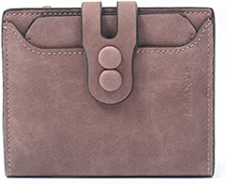 Women's Short Wallet Leather Coin Purse Mate Lady's Purse (Color : Brown)