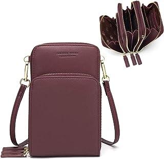 Bolso de teléfono móvil para mujer Monedero de cartera cruzada Mini bolso de teléfono celular cruzado de cuero ligero con ranuras para tarjeta de correa(Vino tinto)