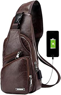 CWeep Headphone Men PU Leather Crossbody Sling Bag,Shoulder Chest Backpack USB Charging Port/Headphone Interface Anti Theft Travel/Hiking/School (Dark Brown)