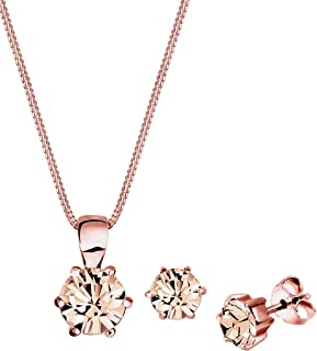 Elli Women 925 Sterling Silver Rose Gold Plated Classic Swarovski® Crystals Jewelry Set