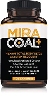 Miracoal Activated Charcoal Capsules for Detox - Turmeric Root for Inflammation   Vitamin B12 for Boosted Energy   Organic, Non GMO and Gluten