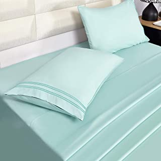 Eternal Moment 4 Piece Bed Sheet Set, Breathable, Soft, with 2 Pillowcases, 100% Brushed Microfiber Sheets - Mint, King