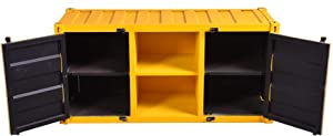 Diwhy Retro Vintage Tv Cabinet Container Style with 2 Doors and Shelve Industrial Design bar Decorate Cabinet Yellow