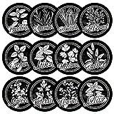12 schwarze Kräuterschilder wetterfest für deinen Garten aus Kunststoff mit transparenten Acrylglasstäben, einfacher Zusammenbau, Gartenschilder, Kräuterspirale, Pflanzenstecker, Ø 8cm Kreis rund