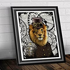 Lion wall art, Poster Print on Antique Dictionary book page, wall decor, Home decor, unique gift, Steampunk illustration #1