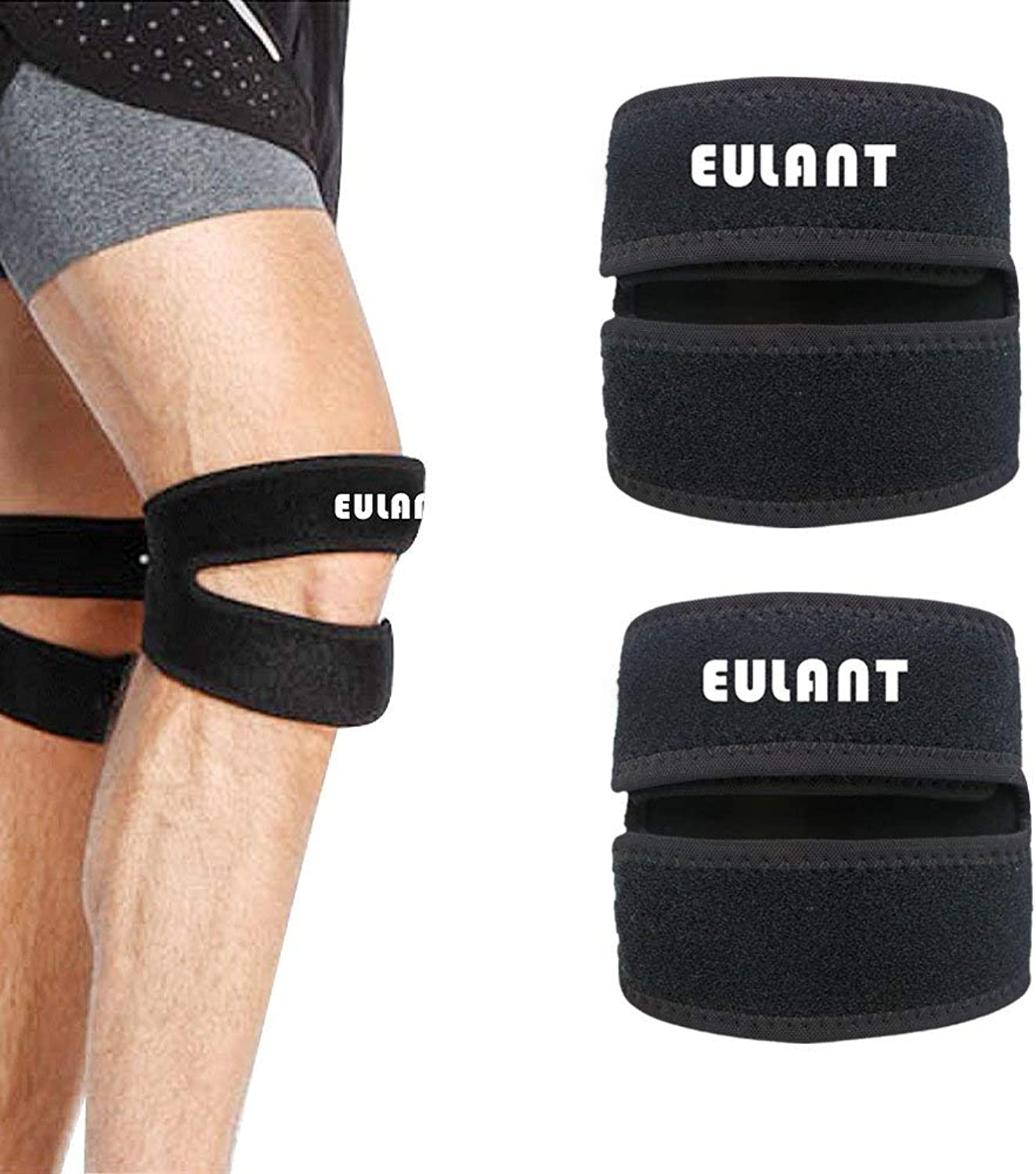 EULANT Dual Strap Knee Brace Providing Targeted Compression Knee Strap Tendonitis Support for Running, Jumper, Squats, Weight Lifting, Basketball, for Women and Men (1 Pair)