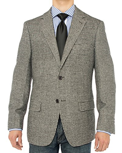 Luciano Natazzi Men's 2 Button Luxe Camel Hair Suit Jacket Sport Coat Blazer (46 Regular US / 56R EU, Black White Check)