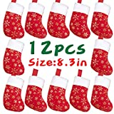 DIYASY Christmas Mini Stockings,12 Pcs Felt Glitter Snowflake Stockings for Christmas Tree and Room Ornament Decoration and Gift Holder(8Inches)