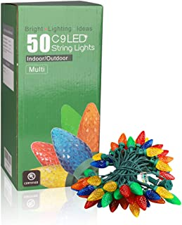 EAMBRITE C9 Christmas String Lights 27ft 50 LEDs Multicolor Strawberry String Lights for Patio Christmas Tree Garden Yard Indoor and Outdoor, UL certificates(Jumbo C7/Slim C9