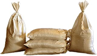 Sand Bags - Empty Beige-Tan or Green Woven Polypropylene Sandbags with Built-in Ties, UV Protection; Size: 14