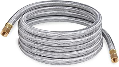 SHINESTAR 12 Foot Propane Appliance Extension Hose Assembly Braided Stainless Steel - 1/4inch Female Pipe Thread x 1/4inch Female Pipe Thread Fittings for RV, Gas Grill, Fire Pit, Heater