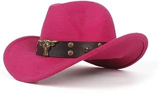 Yumi New 2019 Cowboy Hat Ladies Men's Western Cowboy Hat for Dad Gentleman Lady Leather Sombrero (Color : Pink, Size : 56-59cm)