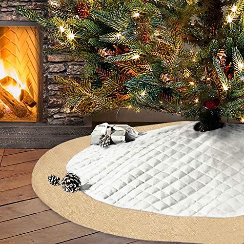 Elegantpark Baumdecke Weihnachtsbaum Weihnachtsbaum Röcke Qulited Fabrik Sackleinen Weihnachtsbaum Teppich Decke Dekoration für Frohe Weihnachten Party Weihnachtsbaum Rock Dekorationen Weiß 1 Stück