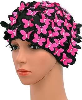 Medifier Vintage Swim Cap Floral Petal Retro Style Bathing Caps for Women