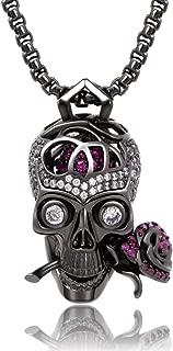 Romance Forever Skull & Rose Charm Unisex Pendant Necklace with Crystal Brain Hidden Inside