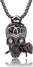 Karseer Romance Forever Skull & Rose Charm Unisex Pendant Necklace with Crystal Brain Hidden Inside