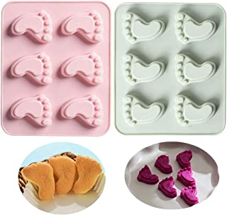 MoldFun 2 Pack Cute Baby Foot Silicone Molds for Baby Shower Party Footprint Chocolate Candy Gummy Jello Jelly Bakeware Baking Muffin Cupcake Cake Soap Lotion Bar Crayon Melt Pastry Ice Cube Tray