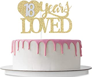 18 Years Loved Cake Topper with Loving Heart, Happy 18th Birthday, 18th Wedding Anniversary Party Decoration Supplies, Cheers to 18 Years, 18 Years Blessed, Double Color Gold and Silver Glitter