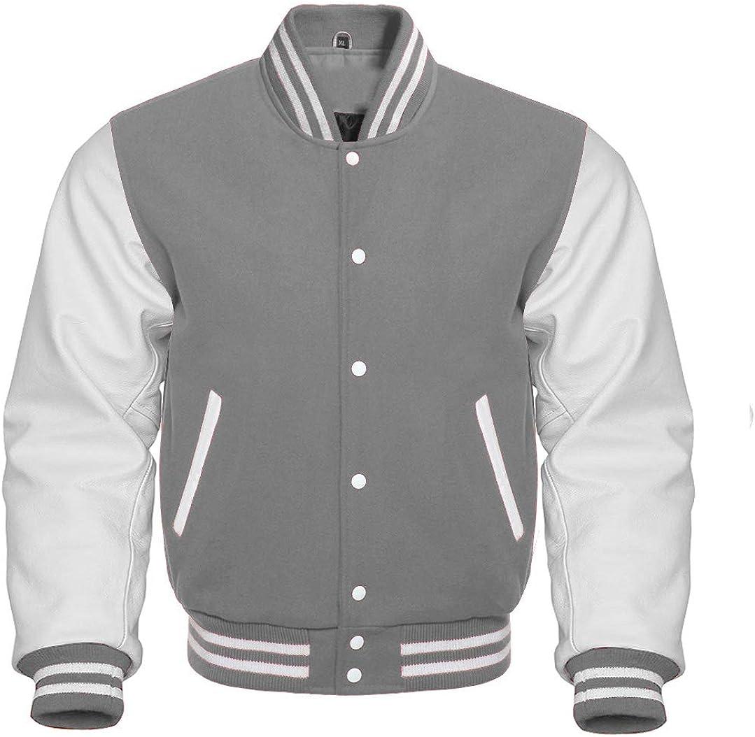 Varsity Letterman Baseball Bomber Retro Vintage Jacket Grey Wool & White Genuine Leather Sleeves
