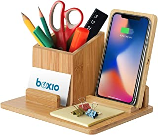 Bamboo Wireless Charger Desk Organizer, Wireless Charging Pad and Pen Holder, 7.5W Compatible with iPhone X/XR/XS MAX/XS/8/8 Plus, 10W Samsung Galaxy S10/S10 Plus/S10E/S9, 5W All Qi-Enabled Phones