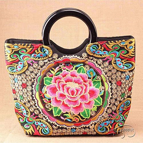 Bolso de mujer Bolso bordado de estilo étnico, con bolso de transporte portátil bordado de doble cara, bolso de mujer versátil